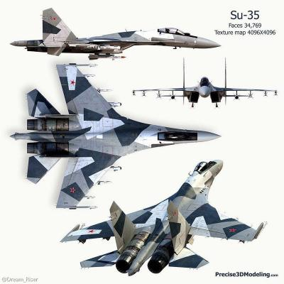 Aviation Jet SU-35 ARF Scheme Artic Riffle, scale lights, weathering, scale parts, vector nozzles and custom paint